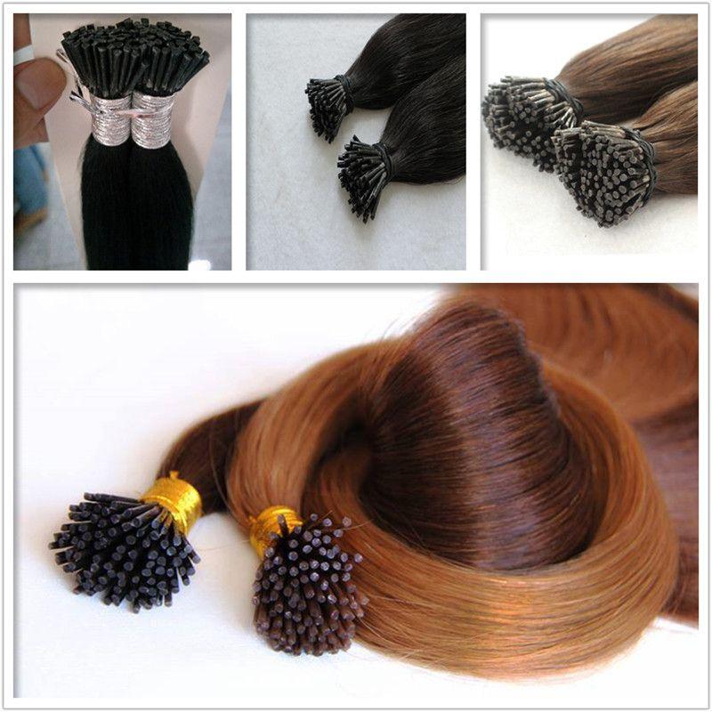 Человеческие индийские волосы Реми я наконечник в наращивание волос 100 г / пакет 1 г/с 200s / лот цвет # 4 волос, свободный спутывания пролить