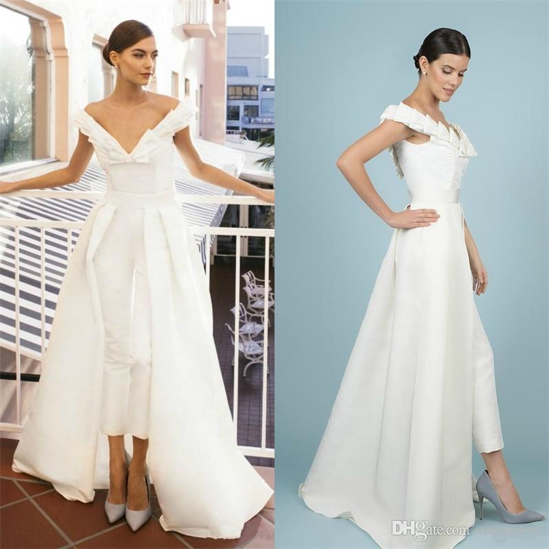 6e286900185 Women Jumpsuit With Detachable Train White Prom Dresses Off Shoulder Sweep  Train Elegant Evening Dress Party Zuhair Murad Dress Vestidos Petite Prom  Dresses ...