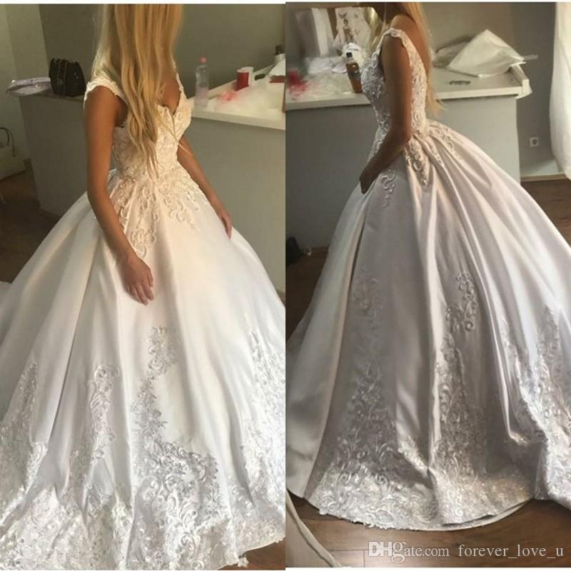 7166035c75 Luxury Ball Gown Wedding Dresses V Neck Sleeveless Lace Appliques Princess  Open Back Bridal Gowns With Beads Sequins And Sweep Train Dress Wedding  Formal ...
