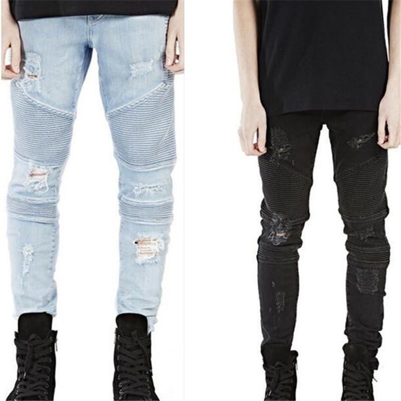0093a7a2ead 2019 Wholesale New Mens Hip Hop Swag Biker Jeans True Ripped Destroyed Skinny  Slim Fit Black Blue Fashion Style Clothing From Woolong, $35.85 | DHgate.Com
