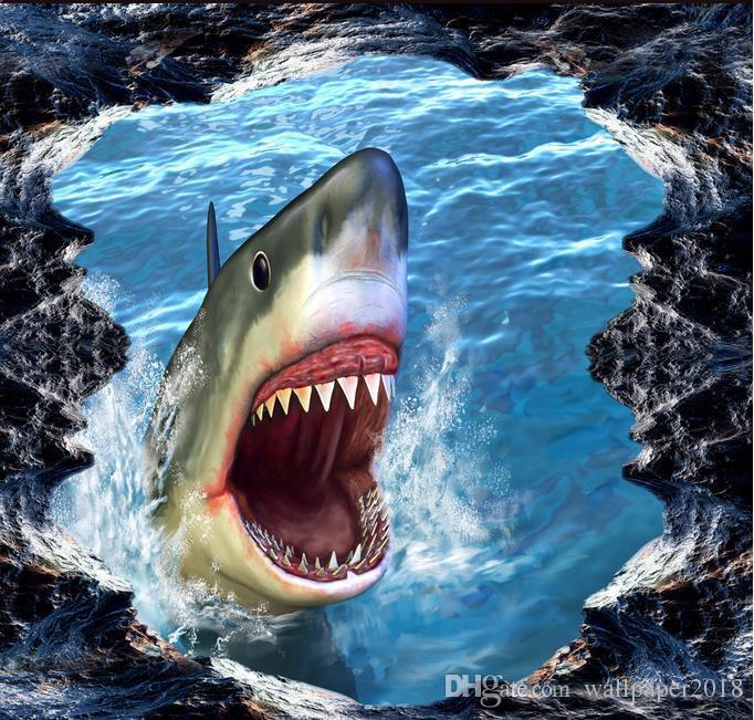 Wall Mural Wallpaper Shark 3D Three Dimensional Painting