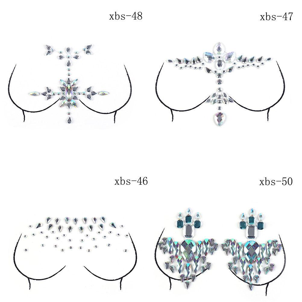 Breast Forms, Enhancers 1 Sheet Breast Pasties Shiny Sticking Crystal Colorful Breast Stickers For Lady