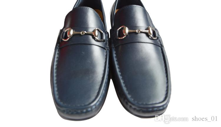 Soft Leather men leisure dress shoe part gift doug shoes Metal Buckle Slip-on Famous brand man lazy falts Loafers Zapatos Hombre 38-43