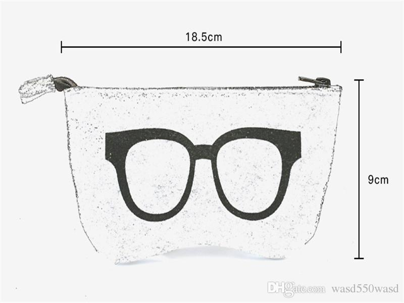 Newest Stripped Zipper Glasses Pouch Sunglasses Case Portable Felt Bag Protector Storage Bag 18.5*9cm