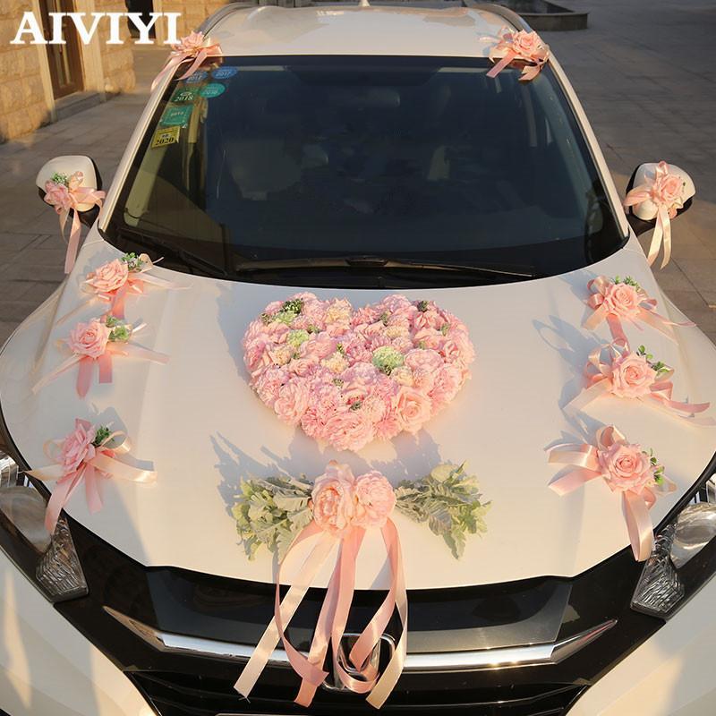 Grosshandel Kunstliche Blumen Rosa Simulation Hochzeit Auto