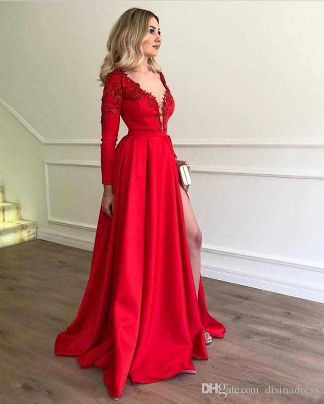 Sexy Split Prom Dresses 2019 Deep V Neck Long Sleeve Applique Beaded Prom  Gown Formal Evening Dress Usa Prom Dresses Very Prom Dresses From  Disinadress 61247a565675