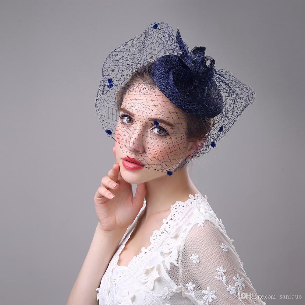 2018 Cheap Elegant Wedding Party Bridal Headdress Church Hats Bridal Hats  Cheap Handmade Custom Navy Blue Hat Luxury Hat Navy Blue Wedding Hats Navy  Hats ... 27ea26c3728