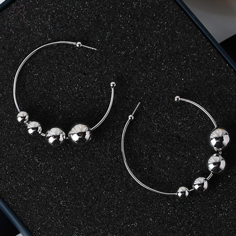 1f0c4ca9f AOMU 2017 New Women Shiny Silver Tone Hoop Earring Small Big Metal Balls  2.1