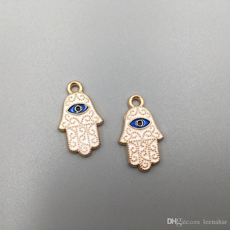 Free Shipping Funny Bracelet Jewelry Carft Making 10pcs 20*12mm Zinc Alloy Gold Plated Hamsa Hand Blue Evil Eye DIY Charms Pendants