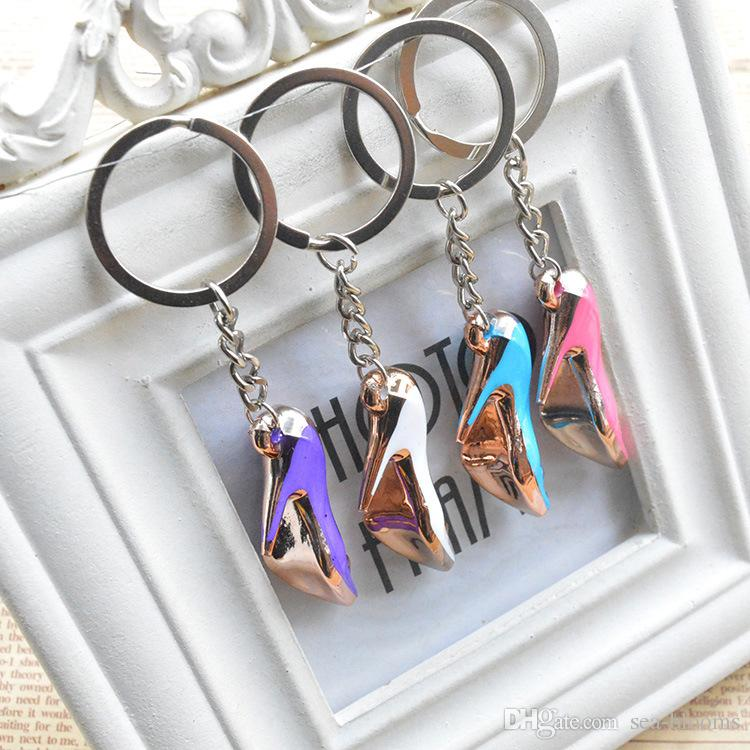 High Heel Keychains Shoes Key Rings Resin Key Holder For Women Bag Charms pendant Keyfob Random Color Send Support FBA Drop Shipping G730Q
