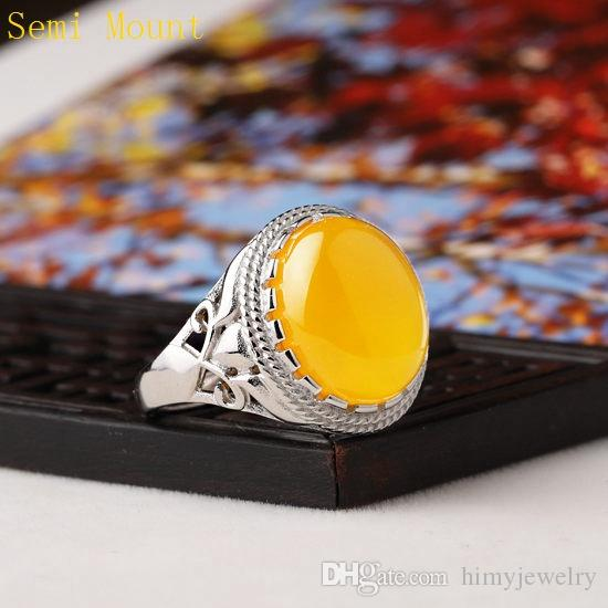 925 Sterling Silver Engagement Wedding Semi Mount Ring for Women 12x14mm Oval Cabochon Amber Agate Opal Lapis Lazuli Setting DIY Stone