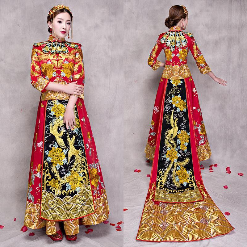 17ae2f344 Compre Novia Cheongsam Vintage Estilo Chino Vestido De Boda Retro Toast Ropa  Señora Bordado Phoenix Vestido Matrimonio Qipao Rojo Ropa A  212.48 Del  Linglon ...