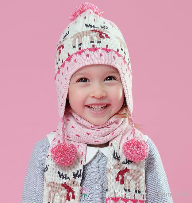 2018 Baby Antlers Knit Hat Girls Chirstmas Reindeer Pattern Knitted