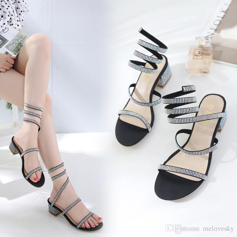 6c7fc9e00c0 New Fashionl Women High Heel Open Toe Gladiator Catwalk Show Style Sandals  Snake Type Winding Rhinestone Sandals Lady Party Shoes Big Size Jelly  Sandals ...