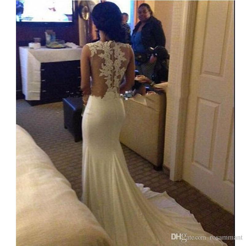 Del partido del vestido nuevo Partido Prom blanca cordón de la sirena apliques vestido del sexo Vestido de noche por encargo de la tarde
