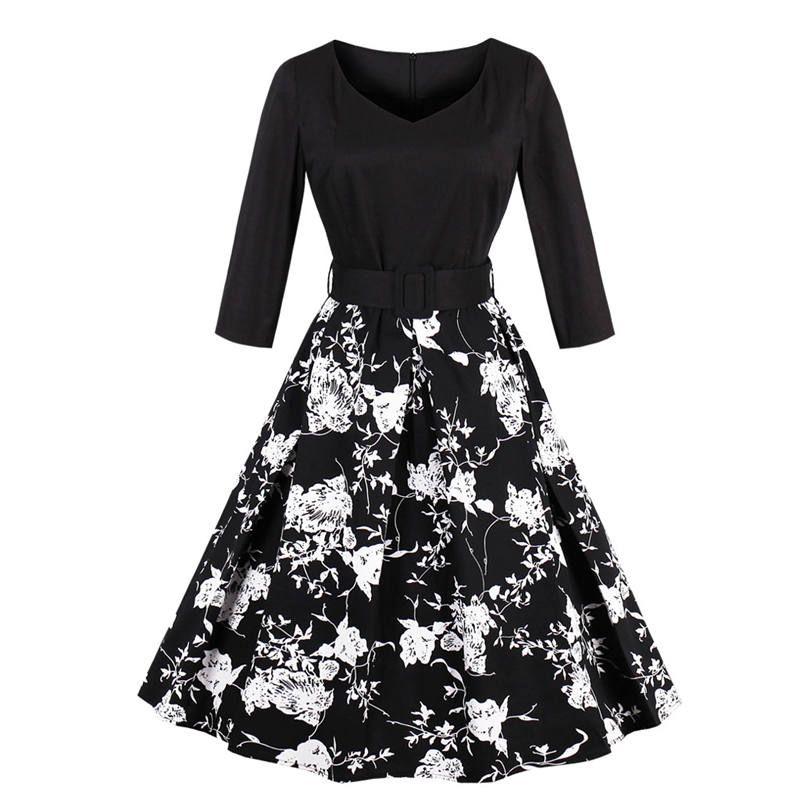 66baadfab Womens Autumn Winter Vintage Swan Flower Printing Big Swing Dress 50s Retro  V Neck 3 4 Sleeve Rockabilly Party Dress Plus Size Floral Dresses Beautiful  ...