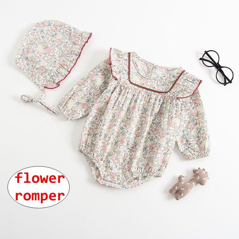 15b809f28 2019 INS Baby Girl Flower Print Romper Newborn Summer Autumn Long ...