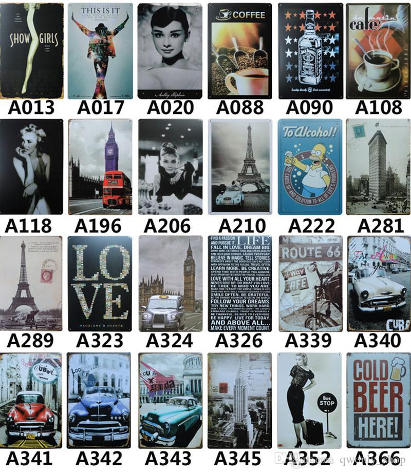 88styles Different Themes Retro Metal Painting Marilyn Monroe Audrey Hepburn Route 66 Beer Motorcycle Vintage Craft Tin Sign Poster Bar Pub