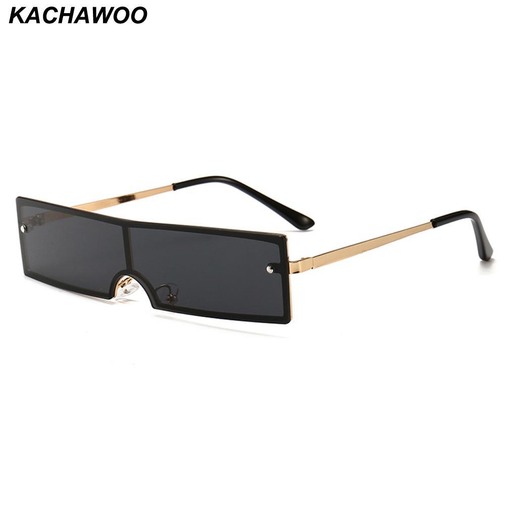 4a12b7e987 Compre Kachawoo Venta Al Por Mayor 6 Unids Rectángulo Gafas De Sol Hombres  Una Pieza Lente Metal Negro Rojo Gafas De Sol Mujer Unisex Artículos De  Regalo De ...