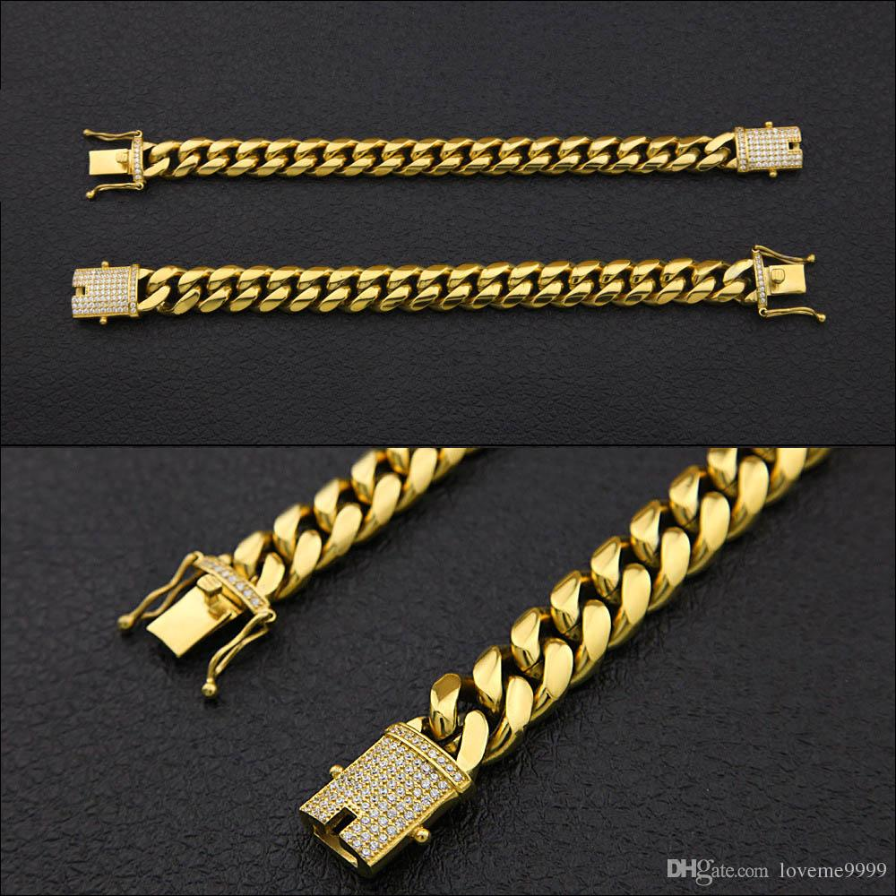 Top Quality Bling Iced Out Womens Mens Curb Cuban Link Bracelets Lab Silver Gold Chain Bangles Luxury Box Clasp Drop Shipping