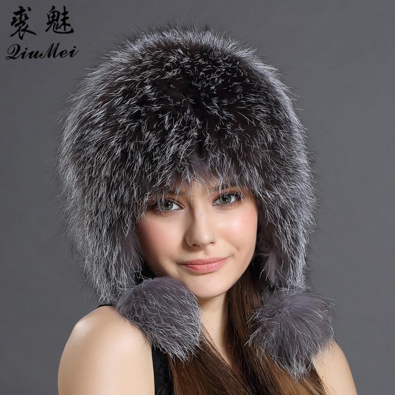 823508a02309a 2019 Women Winter Hat Earflap Real Fox Fur Cap Warm Genuine Fur Caps With  Earflaps Female Raccoon Hat Russian Bomber Hats Ushanka From Spectalin