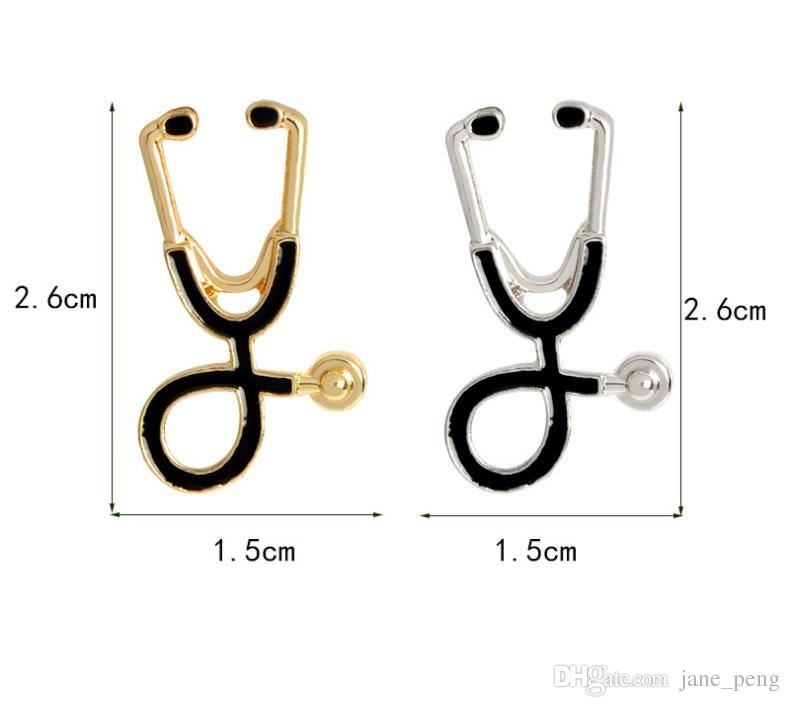 Wholesale Doctor Enamel Stethoscope Brooch Pins Medical Stethoscope Brooches For Nurse Physicians Medical Student Graduation Gift