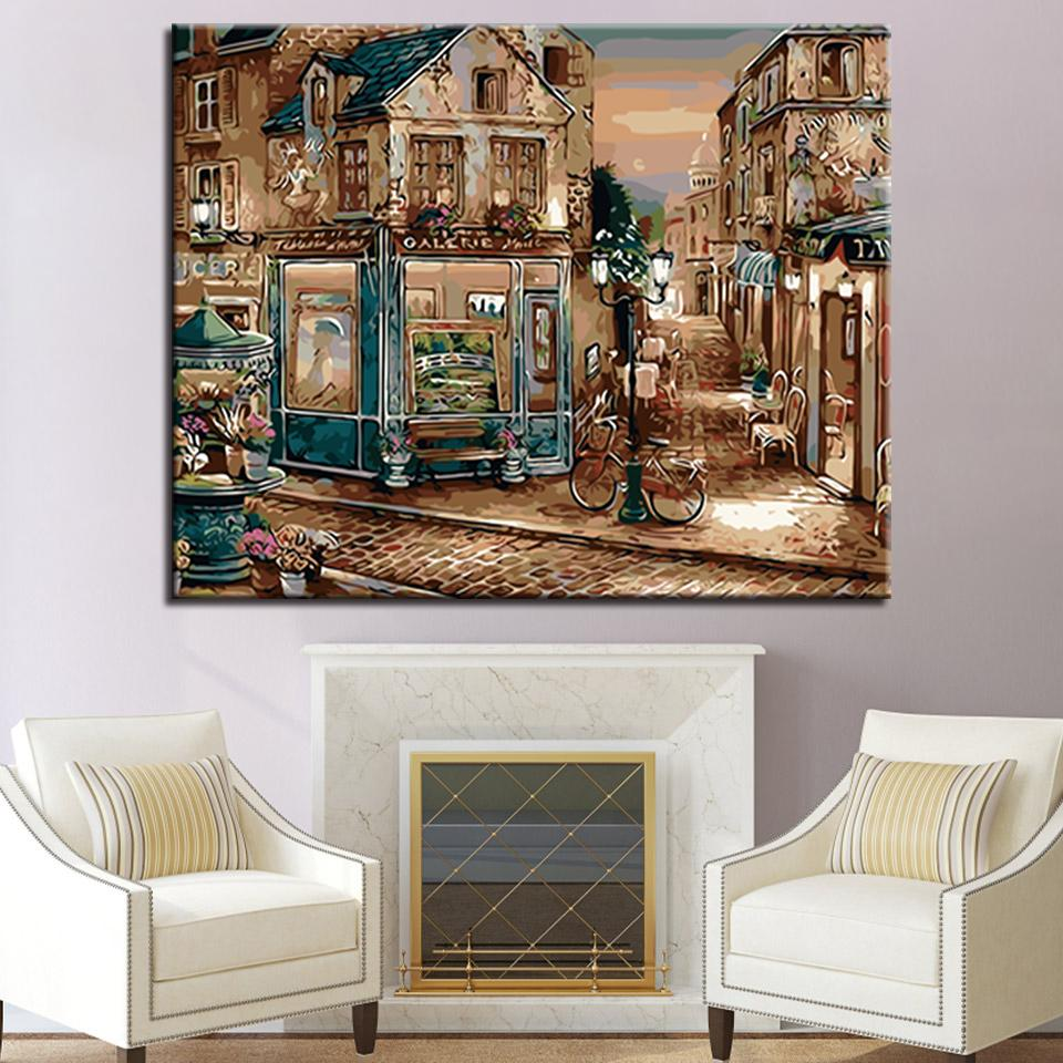 Corner Gallery Landscape DIY Painting By Numbers Kits Drawing Oil Pictures Acrylic Handpainted Coloring On Canvas For Room Decor