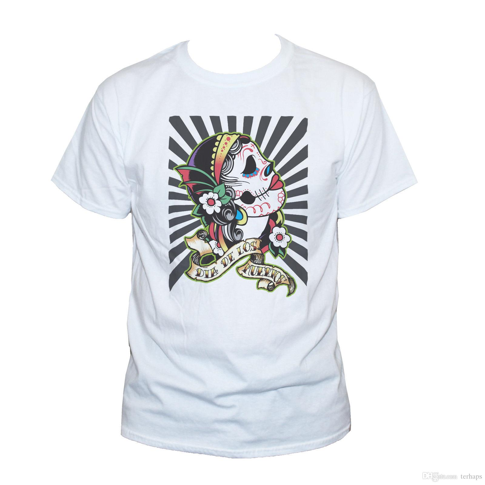 636213935 MEXICAN SKULL T SHIRT Goth Tattoo Punk Rockabilly Graphic Printed Tee  Unisex Men T Shirts Men Shirts Men Clothes Online with $12.98/Piece on  Tshirt4you's ...