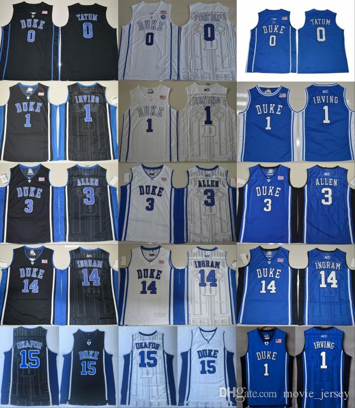 on sale aba7f 41ea1 Duke Blue Devils College 1 Kyrie Irving Jersey Men 3 Grayson Allen 0 Jayson  Tatum 14 Brandon Ingram 15 Jahlil Okafor Blue Black White Jersey