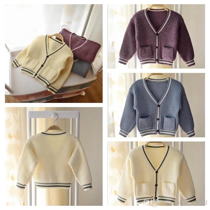 Compre Baby Knitting Cardigan Sweater Otoño Niños Niñas Raya V Cuello  Abrigo Niños Outwear Ropa Single Breasted Doble Bolsillo Tops Yl423 A   65.91 Del ... 64f66c2f4f121