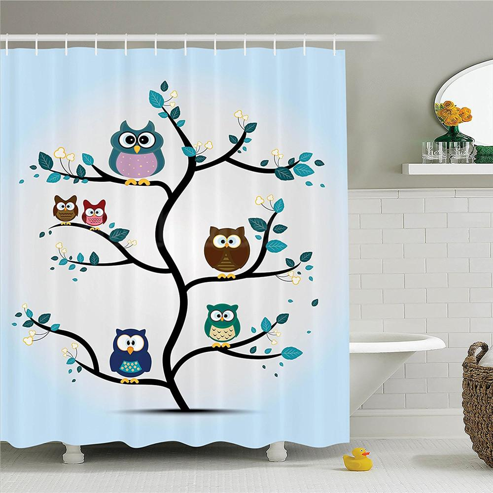 Owl Shower Curtain Large Flower Eyed Owls Pattern Better Positive Perspective Hope Modern Illustration Bathroom Decor Set Curtains Cheap