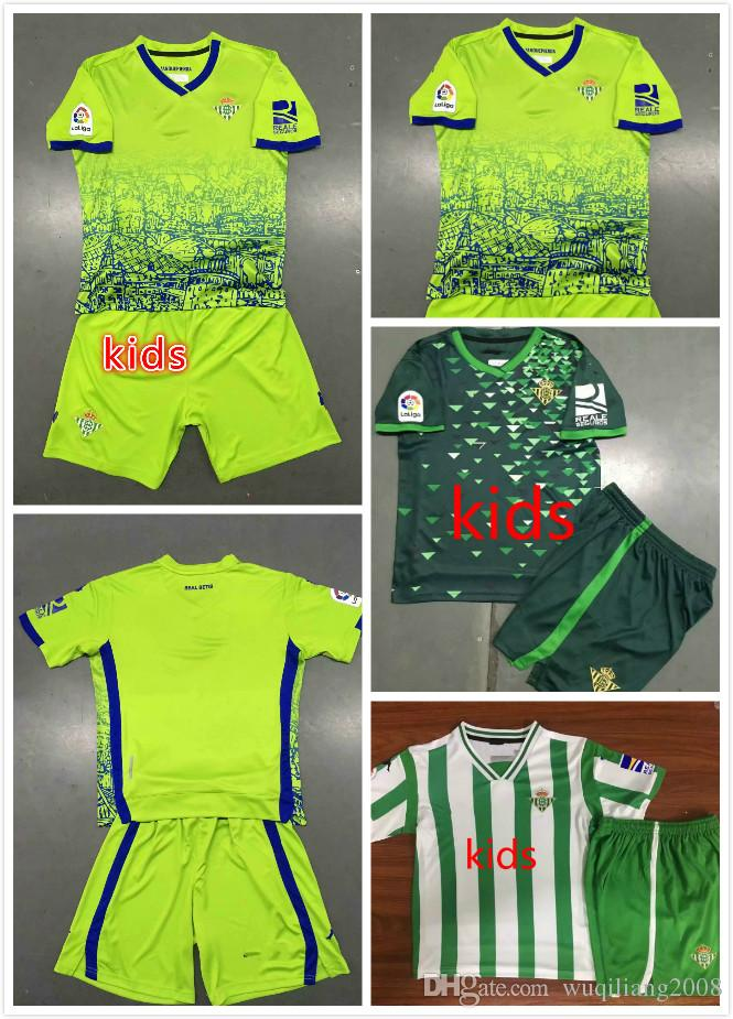 1d0c98111 Best! KIDS KIT 18 19 REAL BETIS SOCCER JERSEYS 2018 2019 JOAQUIN ...