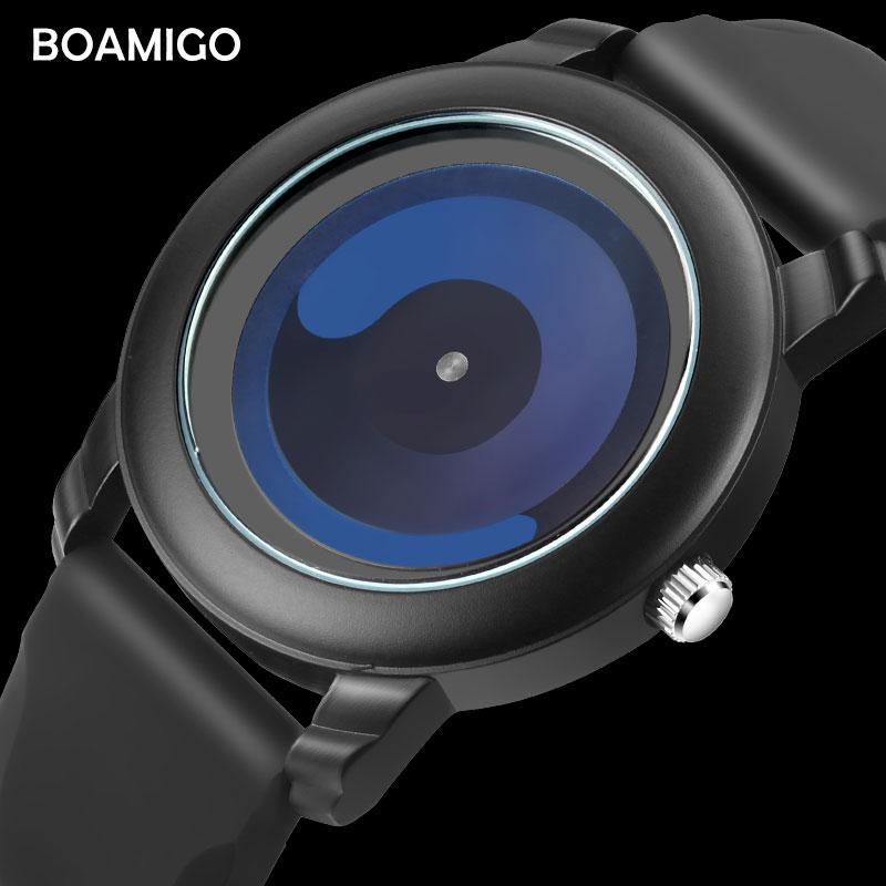 b15710ec9b0 Compre X Moda Masculina Relógios Unisex Marca Boamigo 2018 Homens Relógios  De Quartzo Design Criativo De Borracha Analógico Relógios De Pulso Relogio  ...