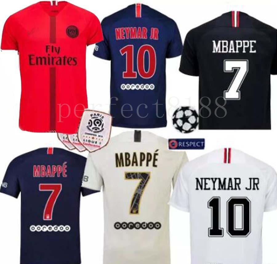 2018 Nuevo Paris Saint Germain PSG Jersey De Fútbol 19 18 7 Mbappe 6  Verratti 9 Cavani 32 DANI ALVES 10 11 DI MARIA 2 T SILVA Camisetas De  Fútbol Por ... cd774782f2a4e