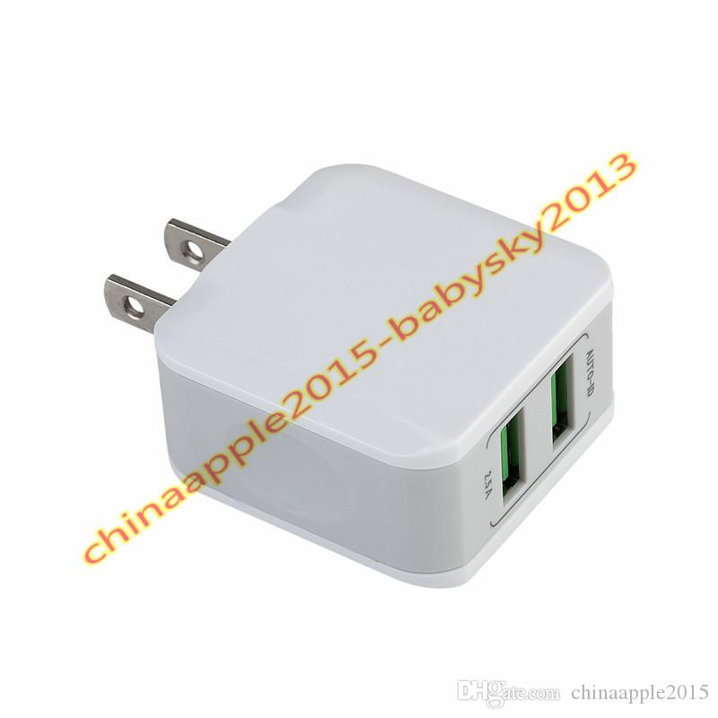5V 2.5A 12.5W Eu US Ac home travel wall charger Auto power adapter Dual usb ports for iphone 7 8 x samsung s7 s8 edge android phone mp3