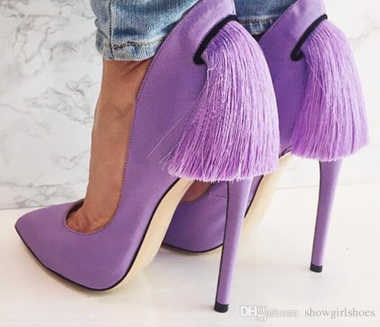Scarpe con tacco alto in pelle scamosciata con finta pelle scamosciata viola da donna Scarpe da sposa con tacco a punta stile Kim Kardashian