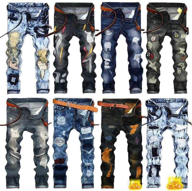 Men Designer Jeans Stonewashed Straight Distressed Vintage Ripped ... e99411c91809
