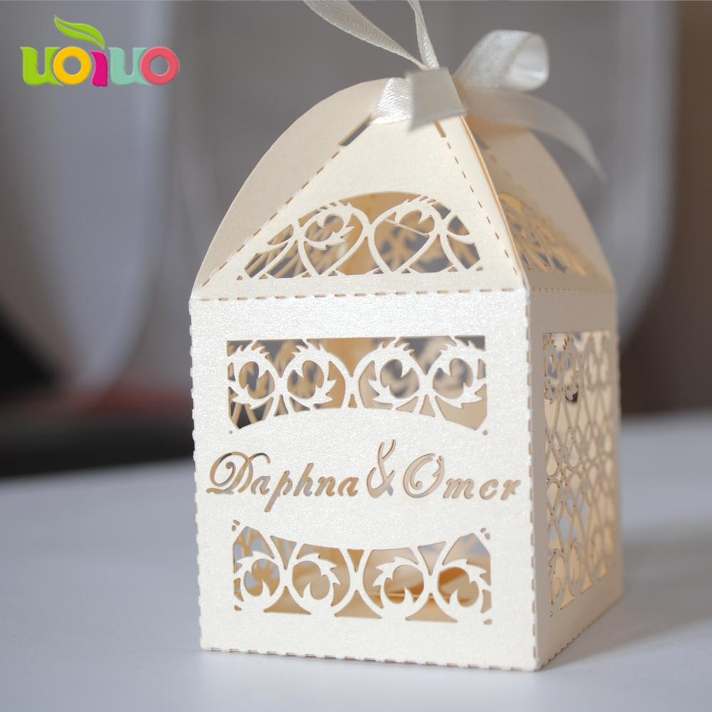 Wholesale Customized Name Logo Laser Cut Wedding Souvenirs Romantic ...
