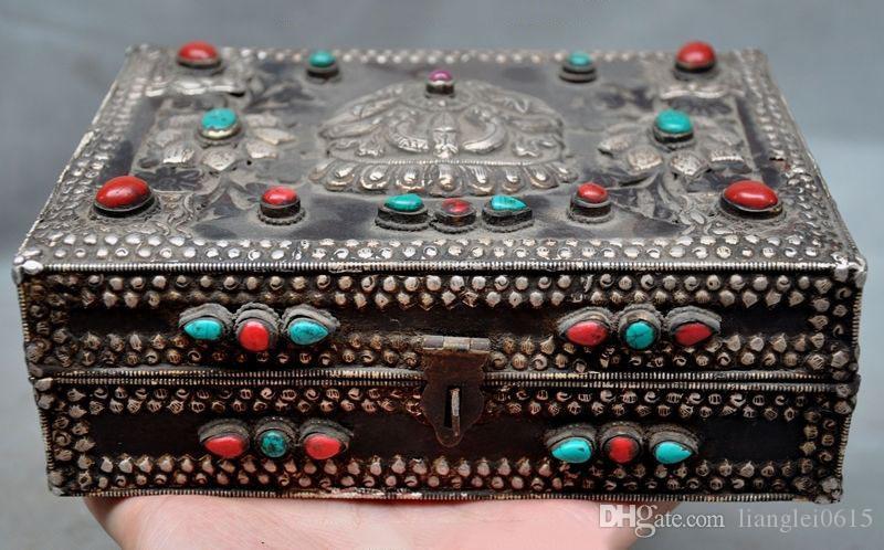 Acheter Rare Ancien Tibet Argent En Filigrane Huanghuali Bois Boîte De  Boîtes À Bijoux En Corail Turquoise De  492.47 Du Lianglei0615   DHgate.Com c4fbc6c8dce