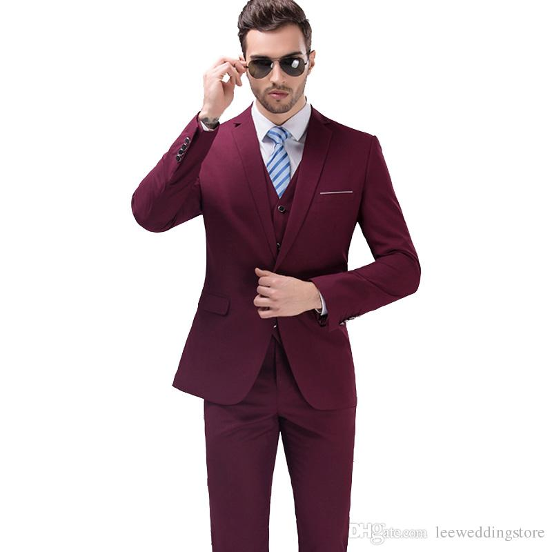 ea7b289cc21a New Arrived Burgundy Men Suits Blazer Luxury Wedding Suits Slim Fit Tuxedo  Formal Business Suit Terno Masculino 3 Pieces (Jacket+Pants+Vest)