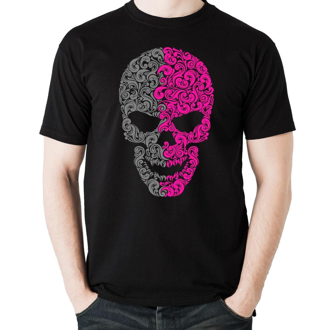 Compre Dos Calaveras Con Dibujos De Colores Hombres Camiseta Divertida  Biker Diseño Fresco Verano Buena Calidad Camisetas A  24.2 Del Margat  ed24ae69be5ac