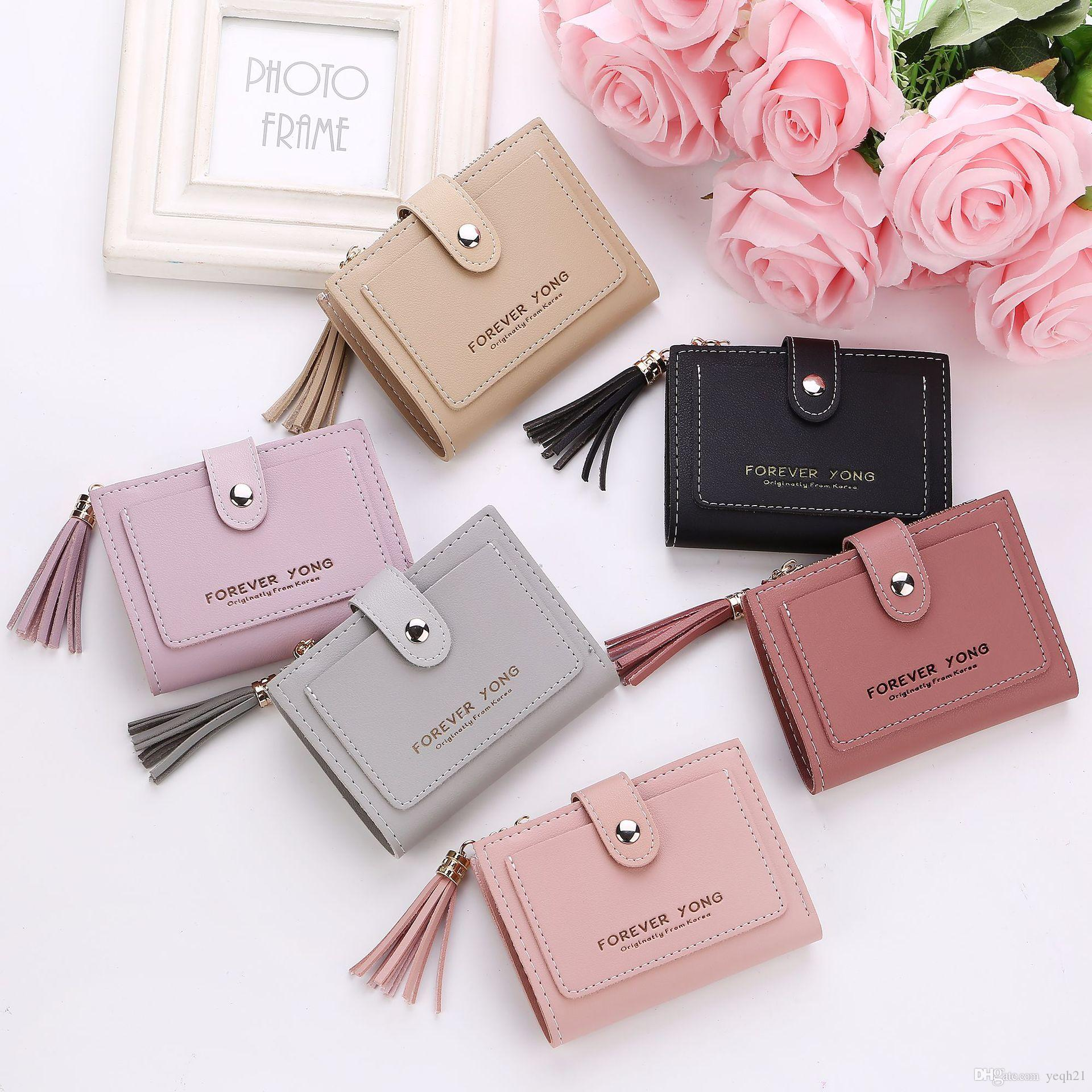 2b30ae50ab New Designer Ladies Wallets Credit Card Holders Short Style PU Leather High  Quality Hasp Tassel Purses Money Bags Luxury Wallets Flat Wallet From  Yeqh21, ...