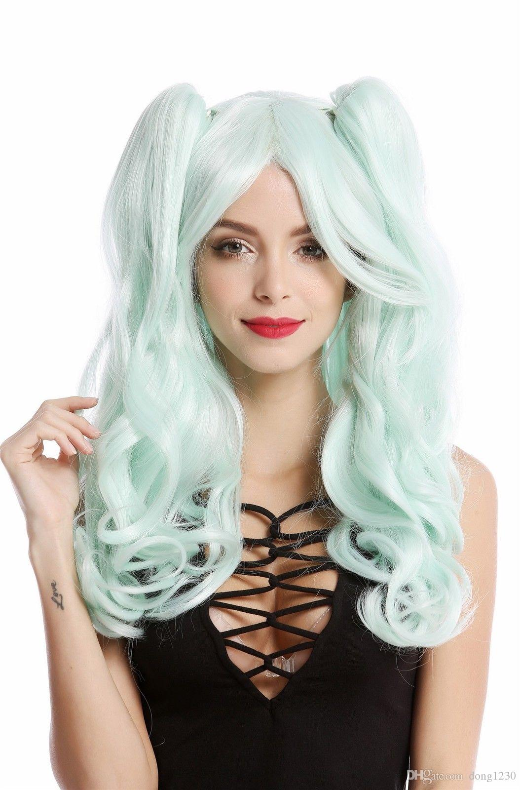Ladies  Wig Cosplay 2 Braids Long Wavy Gothic Lolita Japan Mint Green Wigs  Online Cheap Synthetic Wigs From Dong1230 e4af990289a5