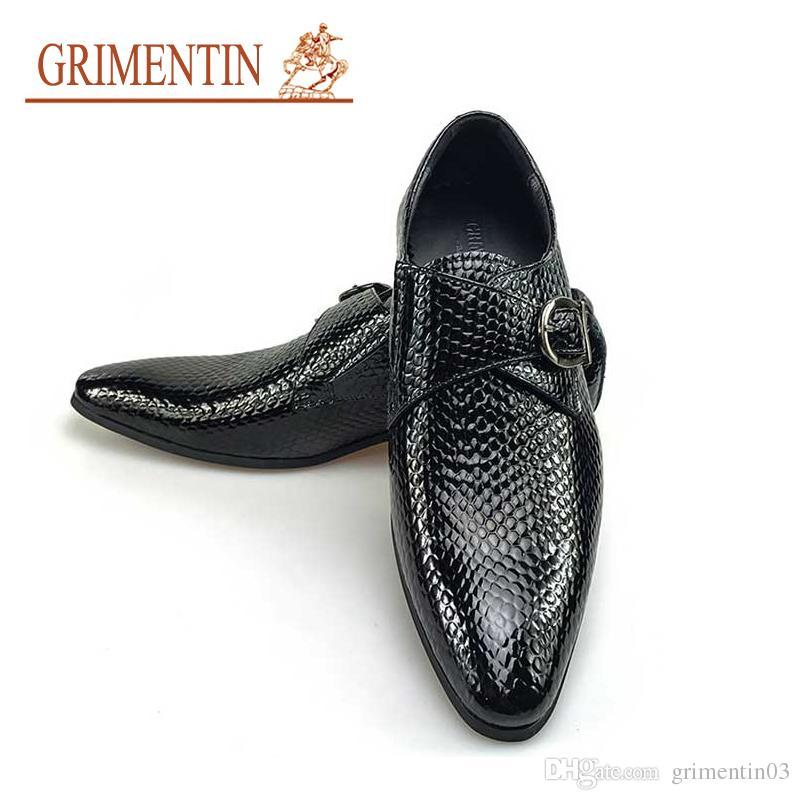 Compre GRIMENTIN 2018 Nuevos Zapatos De Vestir Para Hombre Italianos De  Charol Hebilla De Moda Correa De Hombres De Boda Zapatos Negros Tamaño  5.5  10.5 ... 086c66912c34