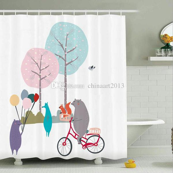 Wholesale Romantic Cartoon Waterproof Fabric Bathroom Shower Curtain Fashion Home Bathroom Decoration Gift With 12 Hooks