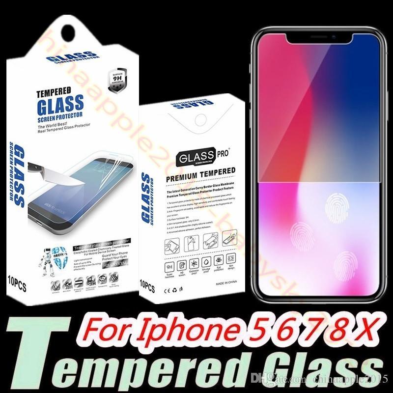 Temperli Cam Ekran Koruyucu Için iphone 5 6 7 8 Artı X XR XS Max Samsung S8 S7 S9 Perakende Paketi ile 2.5D 0.26mm