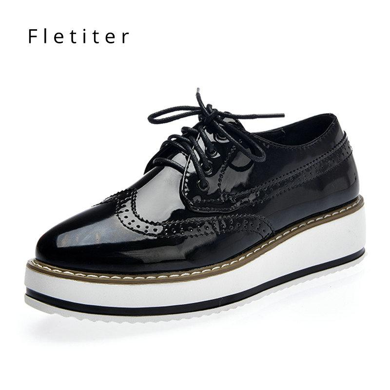 36dd0fdaaf3 Patent Leather Women Flats Shoes Spring Autumn Black Platform Casual Shoes  Ladies Lace Up Leather Women Oxford Fletiter Cheap Shoes Online Summer Shoes  From ...