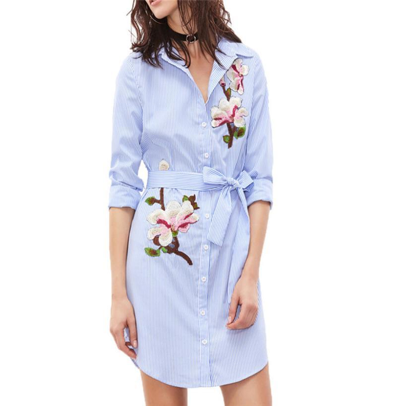 FEITONG Dress Female Women S Print Vertical Striped Long Sleeves  Embroidered Floral Shirt Dress New Spring Casual Dresses 2018 Long Dresses  Women Summer ... e55ceed2aefb