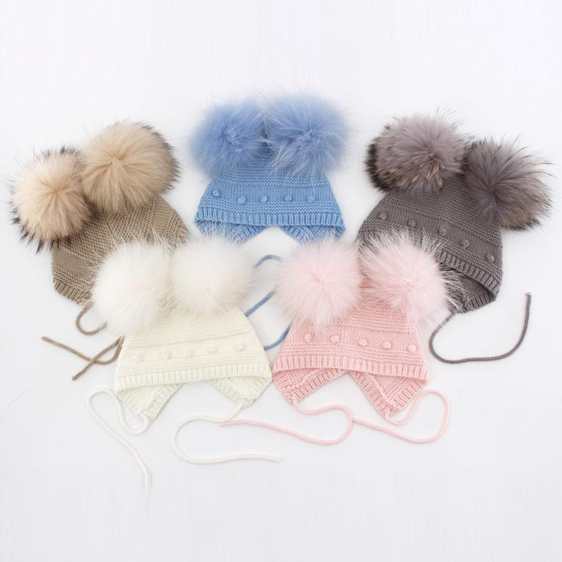 e2c60f3378f 2019 1 12Months Lovely Baby Dot Beanie Hat With Fluffy Double Fur Pom Pom  Fashion Caps For Girls From Litchiguo
