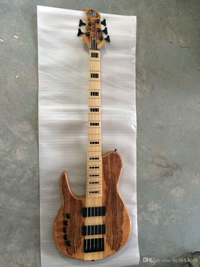 Wholesale Brand New Left Handed 5 String Bass 5strings Electric Bass Through Neck In Natural 140815.Free Shipping 140815